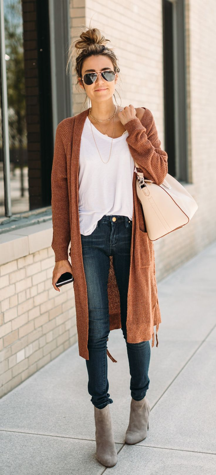 Fall outfit + chestnut brown long cardigan + jeans, booties and a classic white tee