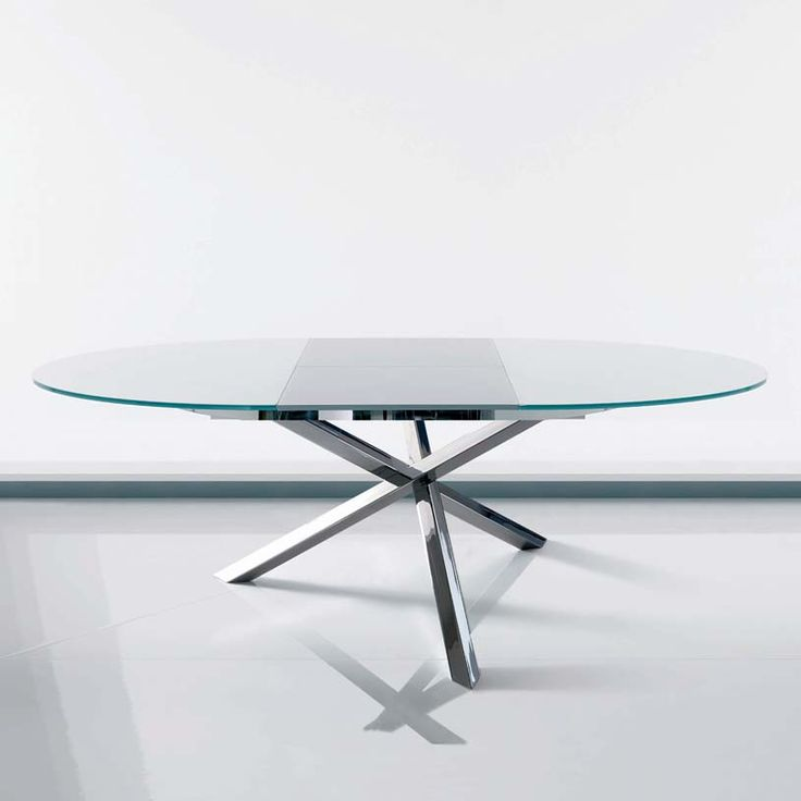 Awesome Rolli Modern Round Extending Glass Dining Table approx