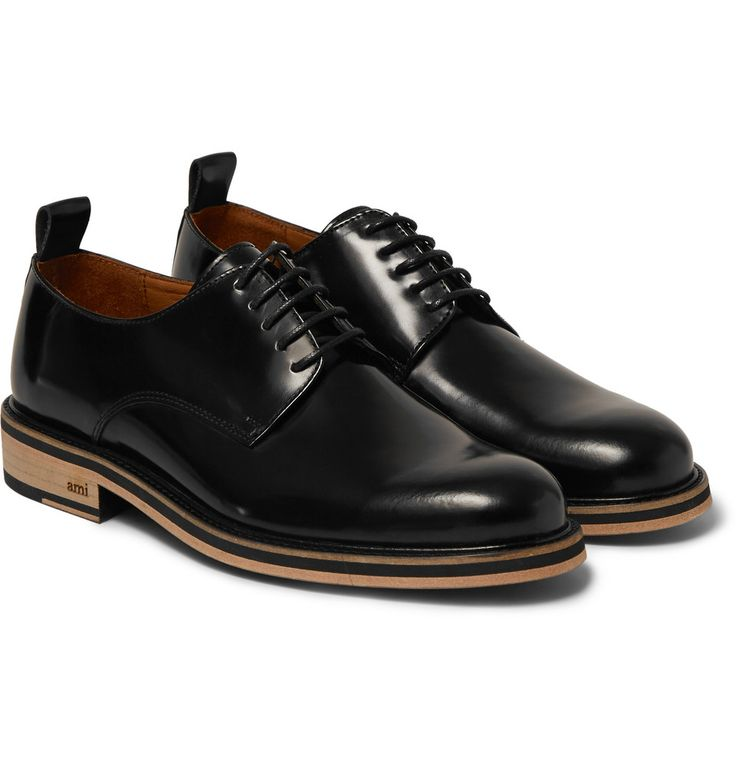 AMI - Glossed-Leather Derby Shoes|MR PORTER