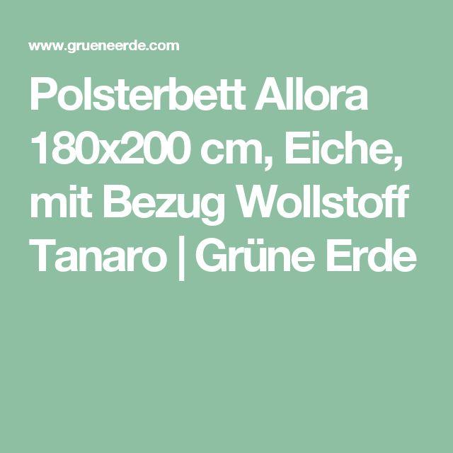 Polsterbett Allora 180x200 cm, Eiche, mit Bezug Wollstoff Tanaro | Grüne Erde
