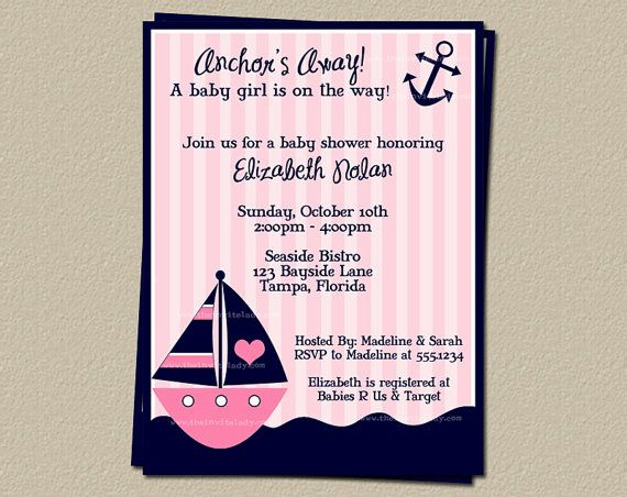 nautical baby shower invitations girls pink sailboat anchors away sprinkle stripes anchors away 10 printed invites