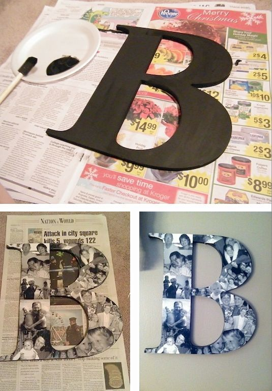 35 Easy DIY Gift Ideas People Actually Want -- A photo collage monogram!