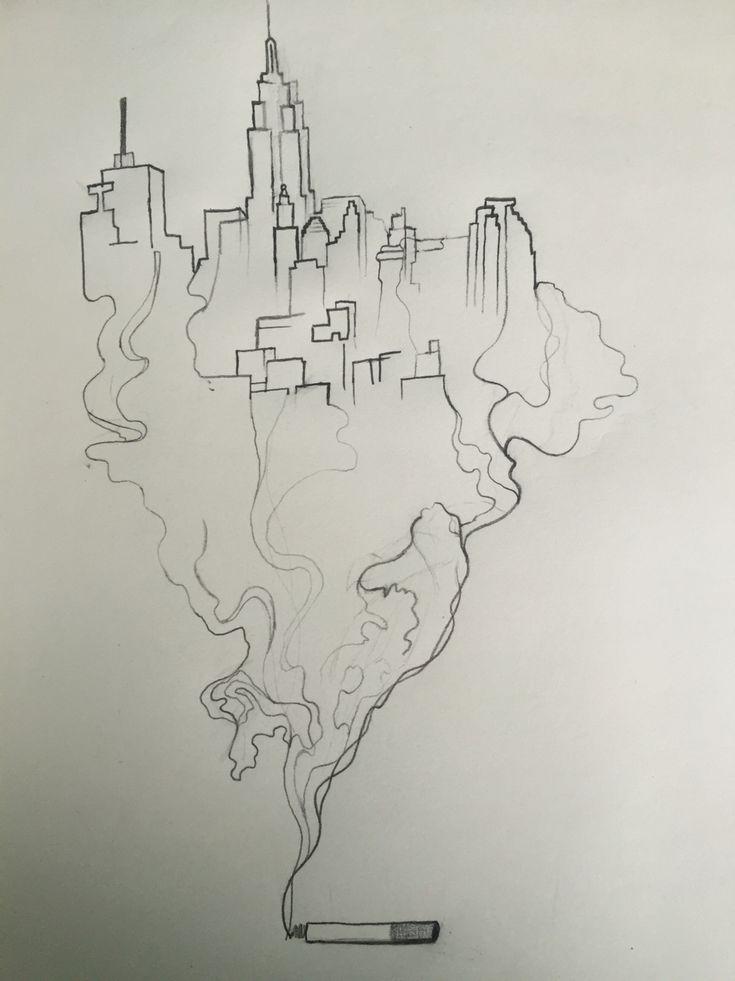 Smoking city sketch