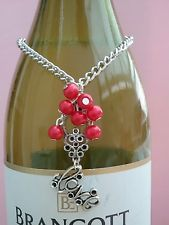 Wine Bottle Necklace & Wine Glass Charm Set. HEARTS. VALENTINE/PROPOSAL.RED