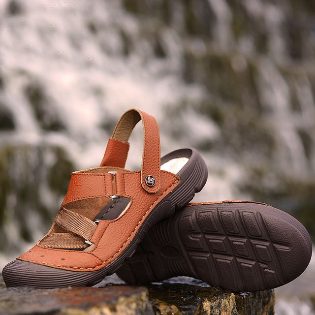 We love it and we know you also love it as well Summer New Arrival Breathable Retro Elastic Brand Mens Casual Beach Shoes Man Sandals Zapatos Hombre Platform Brown Slippers 44 just only $54.00 with free shipping worldwide  #menshoes Plese click on picture to see our special price for you