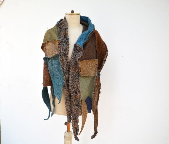 Cozy warm Hand knited shawlchockolate brown blue by ZOJKAshop, $53.00