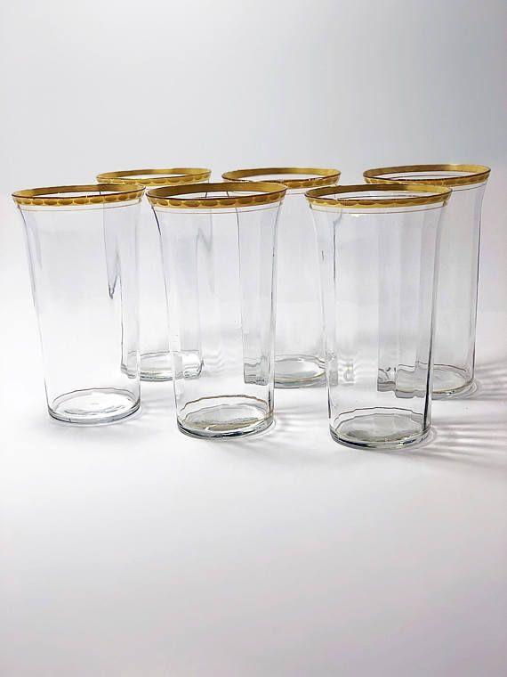 Vintage Gold Rimmed Tumblers Set Of