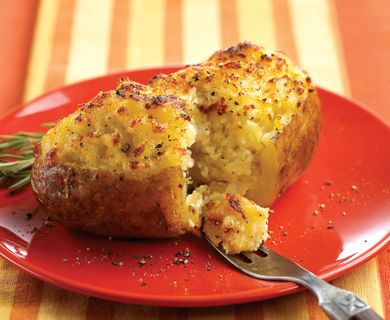 Ricotta Stuffed Baked Potatoes with  Tre Stelle® Ricotta Cheese, Tre Stelle® Grated Parmesan Cheese, and Tre Stelle® Shredded Asiago Cheese #recipe #sidedish #ricotta #asiago