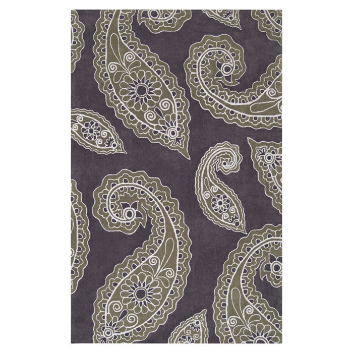 Paisley Rug In Charcoal Gray & Turtle Green