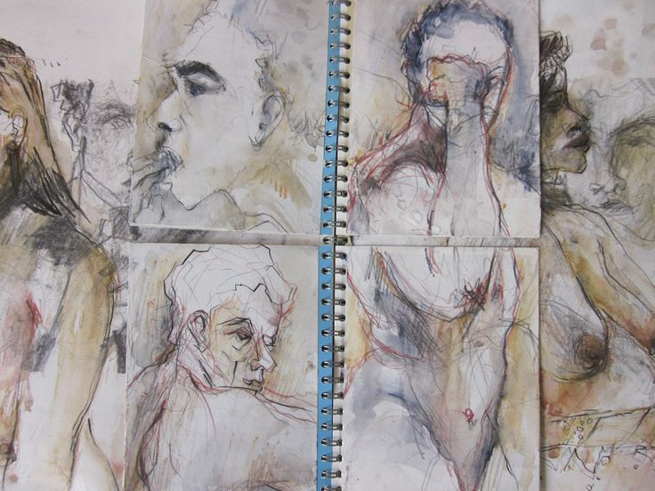 Drawing over old drawings in a book