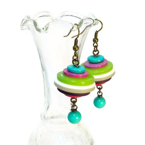 Eclectic Button Dangle Earrings Lime Turquoise by BluKatDesign