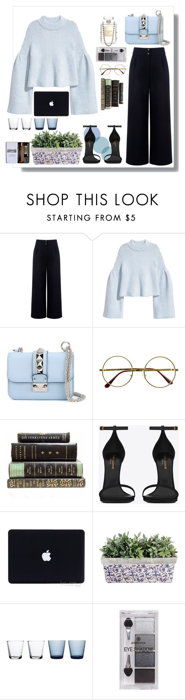 """""""baby blue"""" by salmiun ❤ liked on Polyvore featuring Être Cécile, Valentino, Retrò, Yves Saint Laurent, iittala and Pieces"""