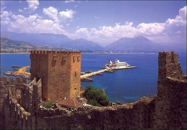 The Tower of Kizil Kule (Red Tower) in the City of Alanya, Turkey