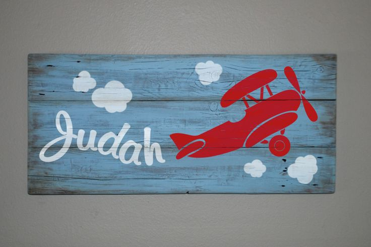 Childrens CUSTOM NAME sign - Biplane airplane on reclaimed Barn Wood wall panel, Kids nursery room decor mural picture, 3 wide. $120.00, via Etsy.