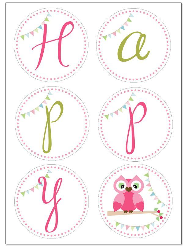 owl birthday banner prints