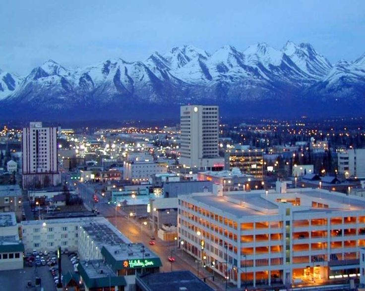Anchorage -Alaska. We got to see a beautiful city out our window of the hotel but behind it were those mountains and the view couldn't have been better :)