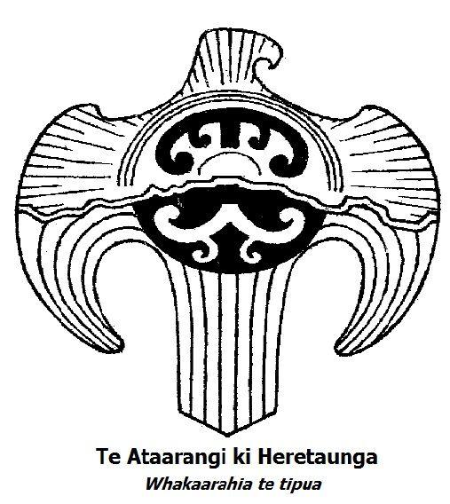 Whakaarahia te tipua! The Hawk represents Heretaunga takoto noa, Heretaunga spans from Napier to Dannevirke.  The horizontal line going through the Hawk is Te Mata o Rongokako, the sleeping giant that overlooks Heretaunga. Whakaarahia te tipua - Awaken the giant - Awaken the Te Ataarangi movement.