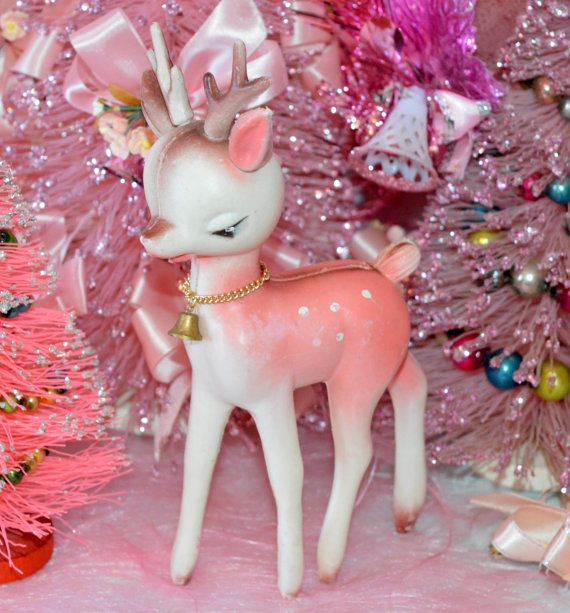 PINK PLASTIC REINDEER, authentic mid-century deer for holiday kitsch decorating, reserved for Cindy T.