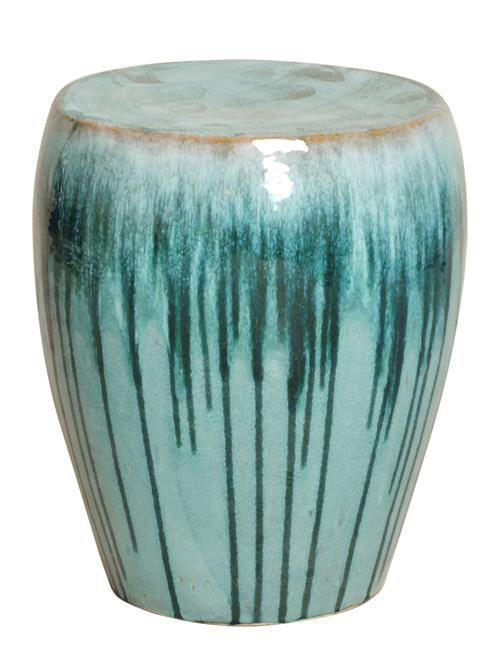 Turquoise Teal Drip Coastal Beach Simple Ceramic Garden Seat Stool