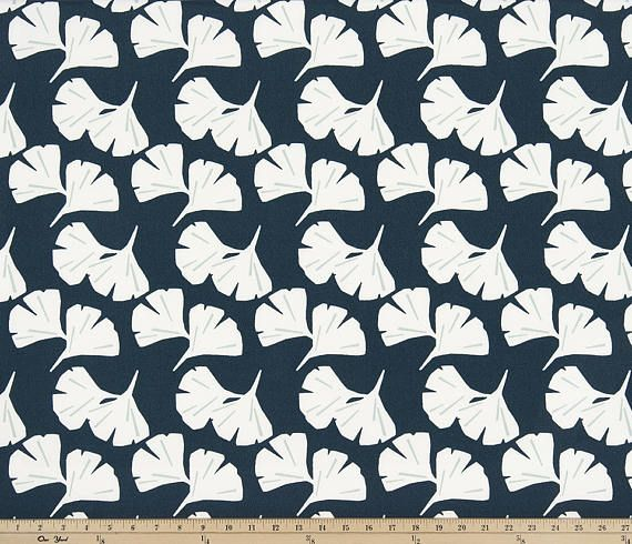 Navy Blue Contemporary Outdoor Fabric Designer Floral Curtain