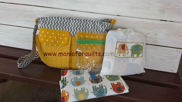 diaper bag, changing mat, quilt