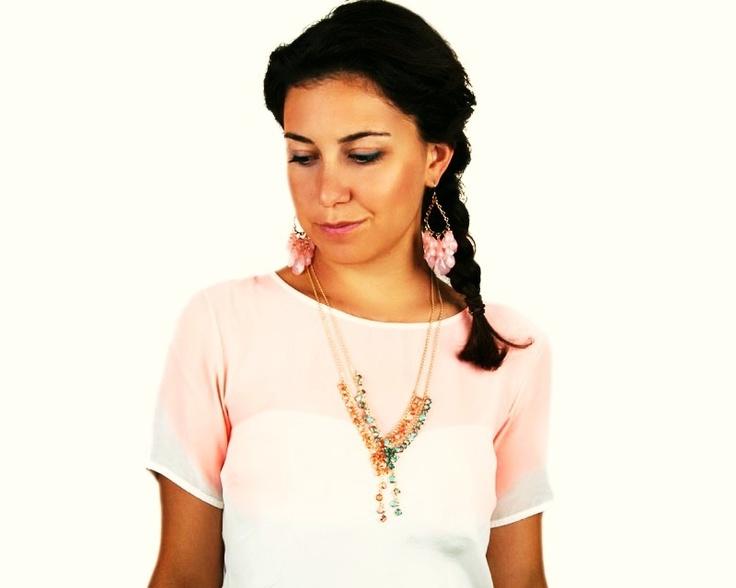 Bonbon Kolye | Modapik mavi yuvarlak taşlı uzun zincir kolye necklace 35 TL