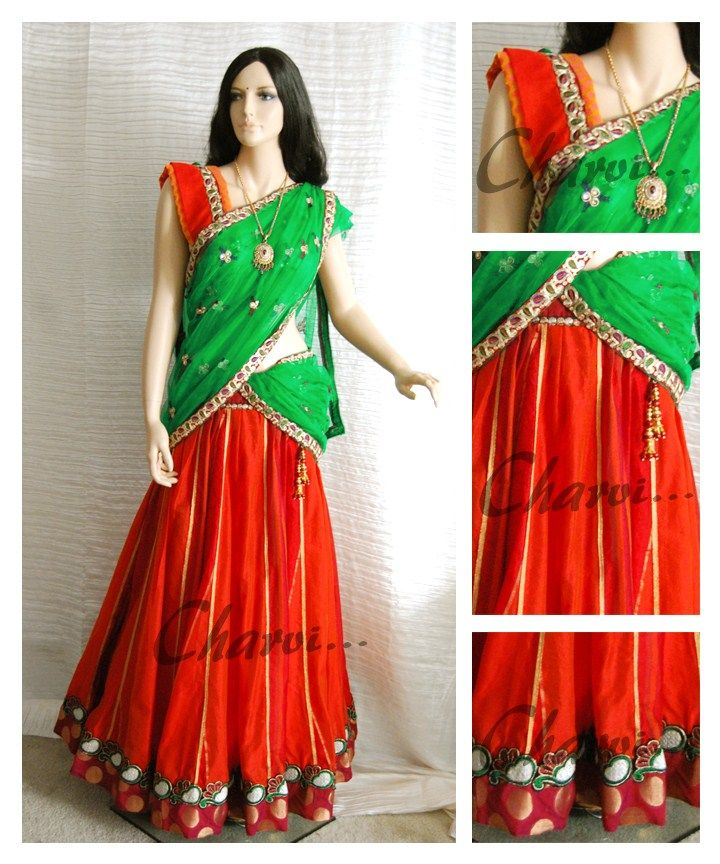 Ethnic Indian attire of Long skirt and blouse with | Long skirt made of orange and maroon benarasi brocade silkcotton as border along with gold border with matching orange blouse. Parrot green net Half saree drape with designer border . | Charvi Art Studio - woodbridge, NJ