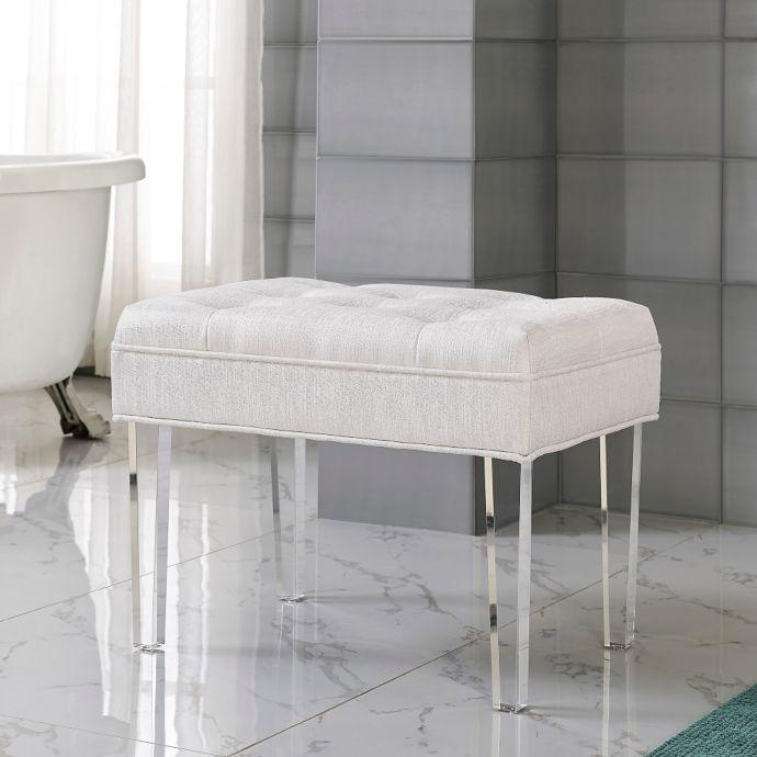 Delray Vanity Bench In Pearl Vanity Seat Vanity Stool Bathroom
