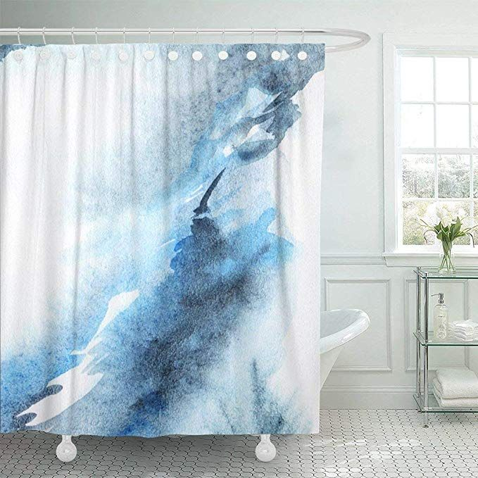 Amazon Com Emvency Fabric Shower Curtain With Hooks Navy Water