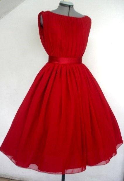 Red Chiffon 50s Cocktail Dress Boat Neck Custom. $265.00, via Etsy.