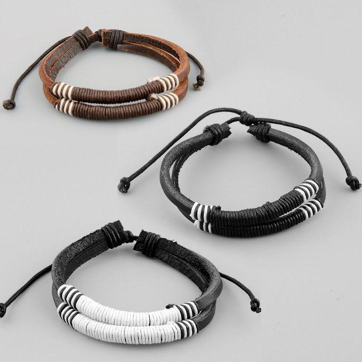 Men Boy Ajustable Leather Surfer Cuff Bracelet Bangle Chain Jewelry New