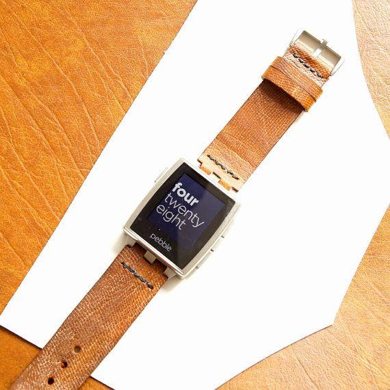 Pebble Steel watch band Kangaroo Tail Leather by Braidmade