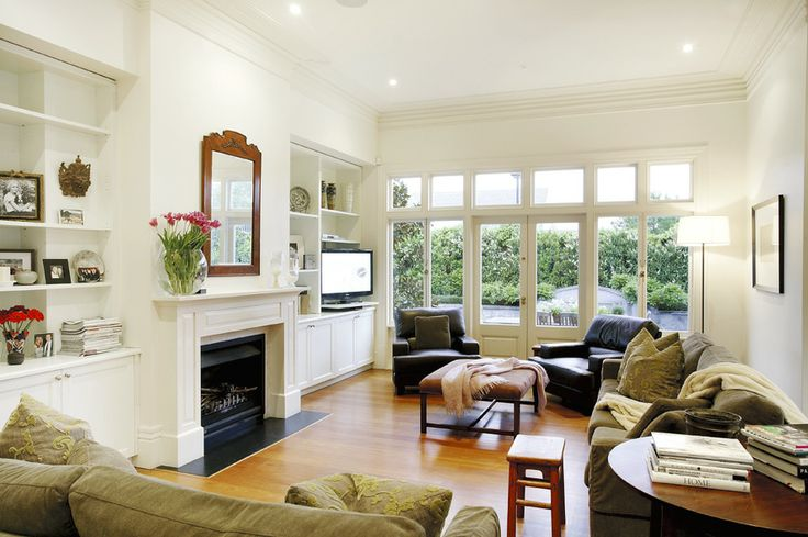 Family living, Living room, Open plan, White walls, Fireplace,   Home renovation, Constructed by Classic Projects