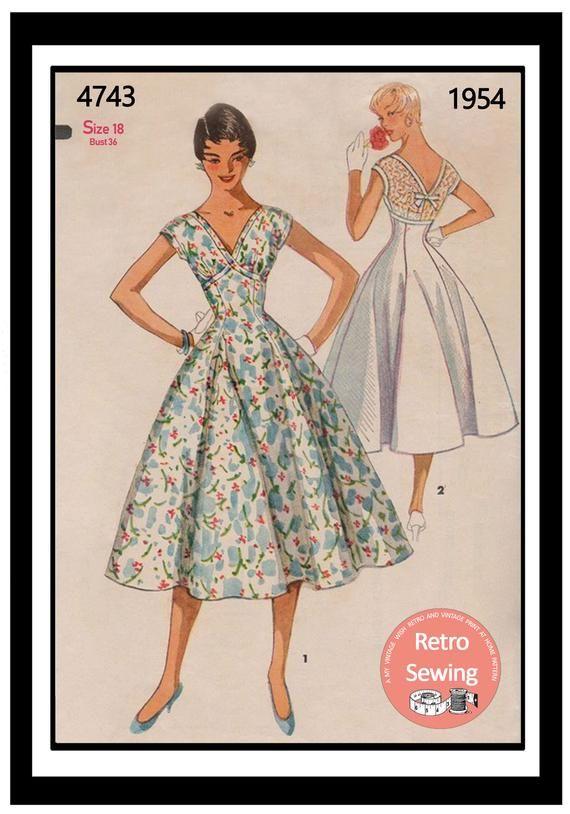 1950s Rockabilly Style Princess Dress Pdf Print At Home Sewing Etsy Swing Dress Pattern 1950s Swing Dress Simplicity Dress