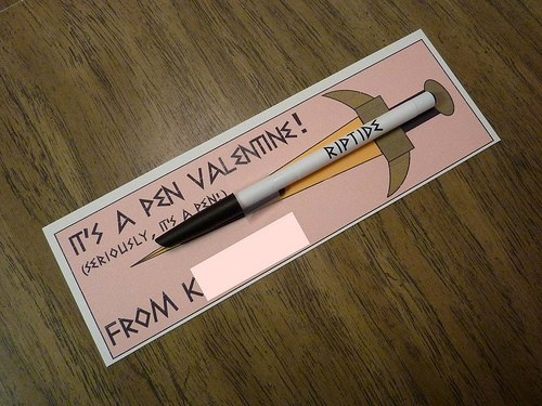 It's a pen Valentine! (Seriously, it's a pen!) Percy Jackson Valentine! I WANT SOMEONE TO GET ME THIS!!!!!