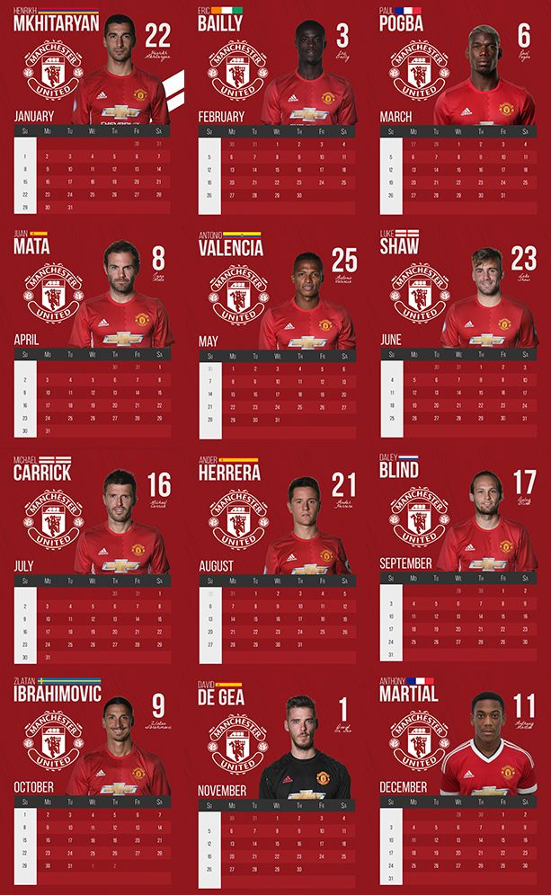 """Check out this @Behance project: """"Manchester United Fan-Made Calendar (2017)"""