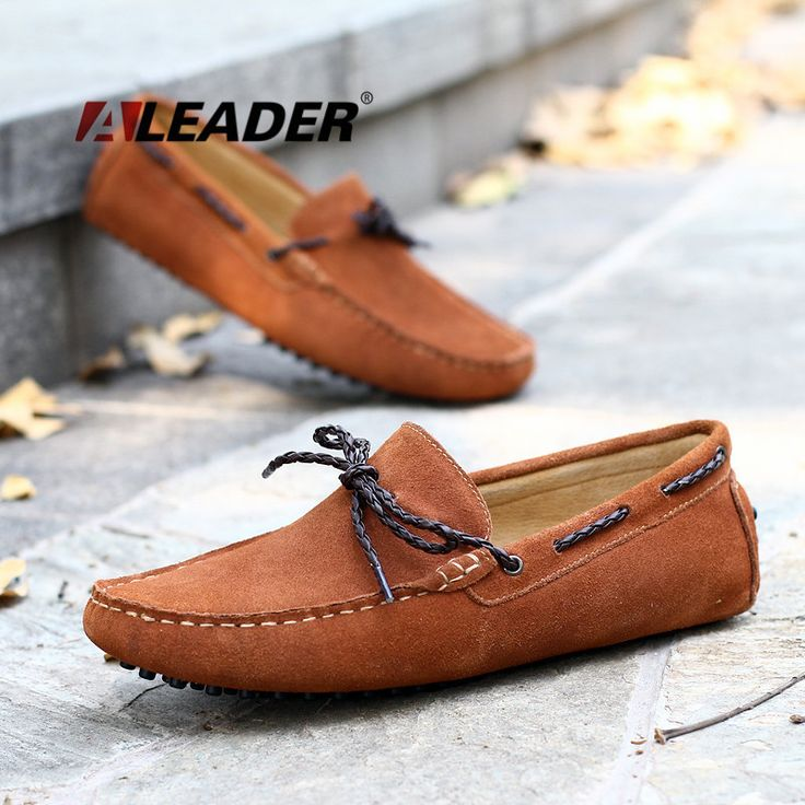 "ALeader Casual Mens Suede Leather Shoes ""Moccasins """