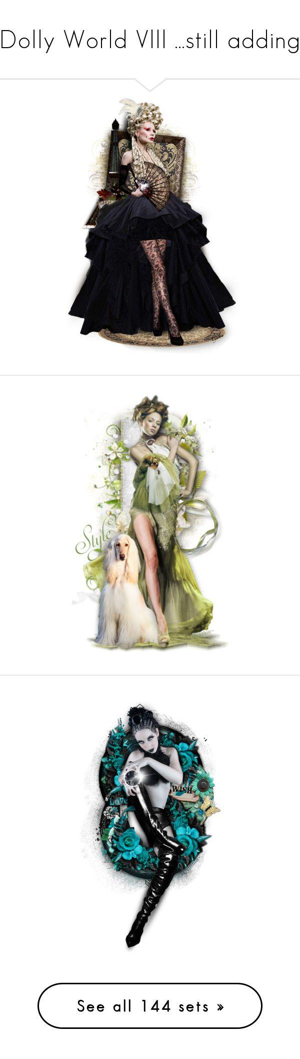 """Dolly World Vlll ...still adding"" by lovetodrinktea ❤ liked on Polyvore featuring art, vintage, doll, Flowers, blackandwhite, dolls, dollset, artexpression, dollart and aqua"