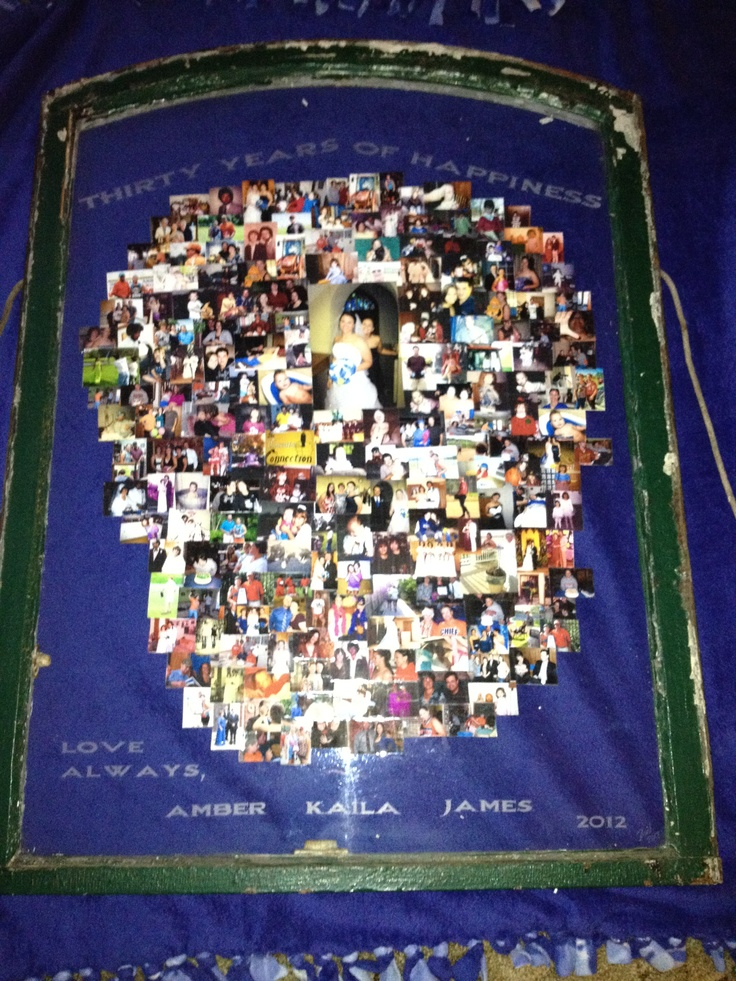 Mom and Dad's thirtieth wedding anniversary present from us kids and the in-laws. Found an old window that is about 4 ft tall and had Bird etch it. Then we made a collage of photos over the years of our family. 10 hours later, a few brackets to hang it on the wall, and our scheme was a success!