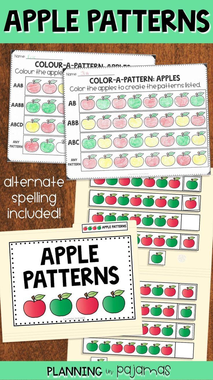 Apple Patterns Worksheets File Folder Game Pattern Worksheet Folder Games Fall Kindergarten Activities