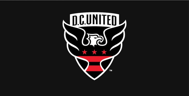 Updated in 2015, the fresh DC United logo still plays its eagle front and center, but gives it a more polished version—and with wings that extend beyond the typical shield shape. The stars and stripes in the logo tie to the District of Columbia flag and British designer Peter Horridge darkened the red. He also gave us a new shape, drawn from George Washington's family crest.  #MLS #logodesign #sports