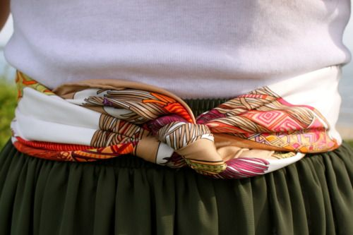 Pretty tie for wearing a scarf as a belt