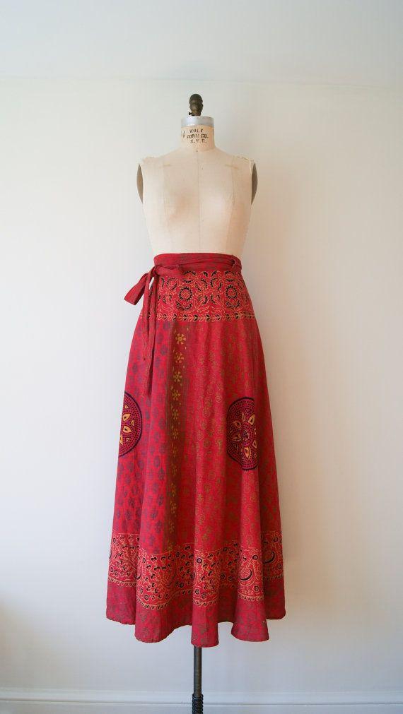 Wrap Skirt. Vintage Boho Hippie Maxi Skirt. Indian Batik Print VTG Cotton Wrap Skirt. Festival Skirt. Small / Medium / Large.