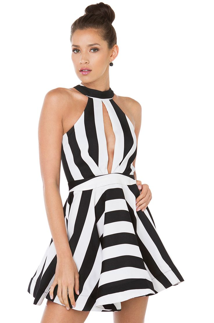 Flirty Black White Striped Sleeveless Mini Skater Dress | AKIRA