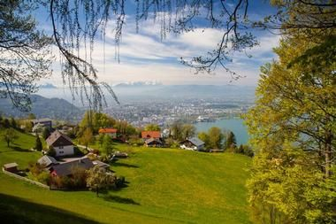 Bregenz - Austria - views fir days, cable car up a mountain with a restaurant at the top and festival in July/August