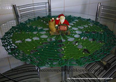 Meu Crochê Contemporâneo: Toalha Pinheirinhos de Natal