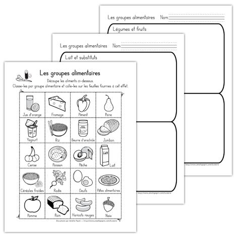 Fichier PDF téléchargeable En noir et blanc seulement 3 pages L'enfant doit découper les aliments de la première page et les coller dans le bon groupe alimentaire sur les pages suivantes.