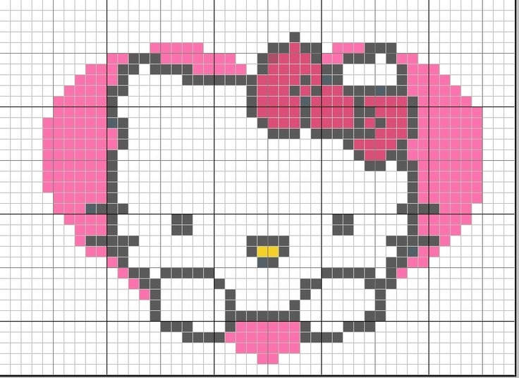 Free Hello Kitty in Heart Cross Stitch Chart or Hama Perler Bead Pattern