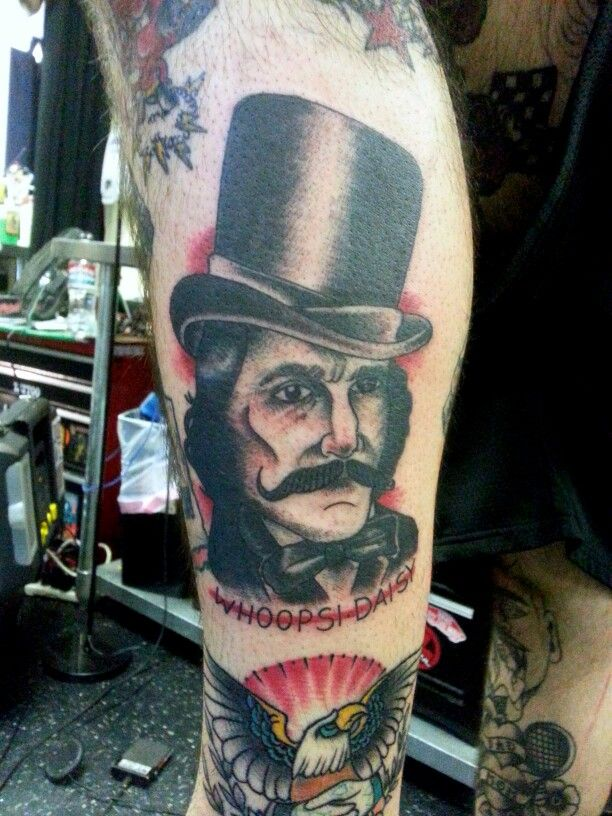 Traditional Bill the Butcher Whip shaded Portrait Tattoo ...
