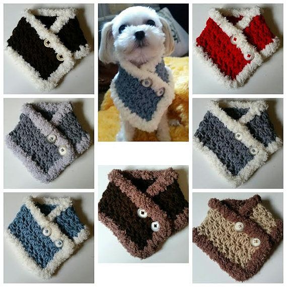 Crocheted Small Dog, Puppy scarf Chooes from 3 Colors fits most S or M dogs